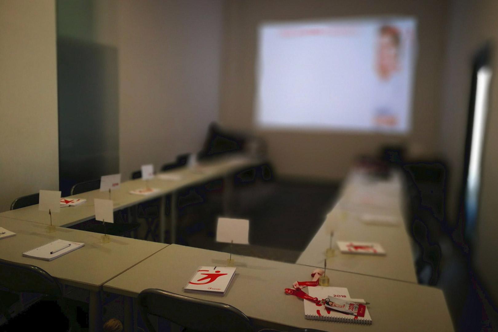 Sala de formação preparada
